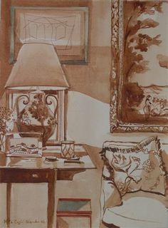 Mita Corsini Bland watercolor of a vignette - English Pembroke table with small modern table underneath