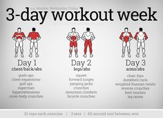 3 Day Workout Week - Chest Abs Legs Arms Full Body Fitness Fit - Easy Fitness Tips Body Fitness, Fitness Tips, Fitness Motivation, Workout Fitness, Muscle Group Workout, Lean Muscle Workout Plan, Enjoy Fitness, Fitness Models, Workout Diet