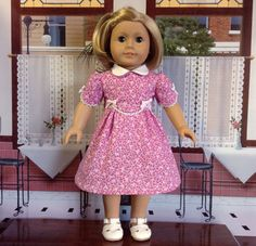 This 1930's Era dress is made using a sewing pattern developed by Eve Coleman of Keepers Dolly Duds for 18 inch American Girl Dolls.    The