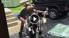 Harley Kick Starting by 12 Year Old GIRL - My daughter (12 years) kick-starts my Shovelhead Chopper just for the second time !Please comment. She is so proud :-) Tha