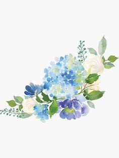 'Blue Watercolor Hydrangea' Throw Blanket by junkydotcom Watercolor Flowers Tutorial, Easy Watercolor, Watercolour Painting, Floral Watercolor, Simple Watercolor Flowers, Watercolors, Hortensia Hydrangea, Hydrangeas, Hydrangea Painting