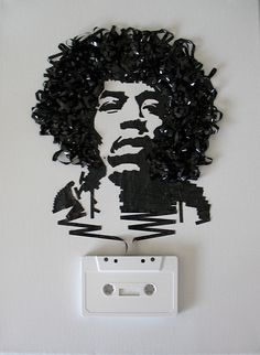 a number of portraits of musicians made out of recycled cassette tape with original cassette. Also included are portraits made from old film and reels. The idea comes from a phrase (ironically) coined by philosopher Gilbert Ryle, a description of how your spirit lives in your body. I imagine we are all, like cassettes, thoughts wrapped up in awkward packaging.