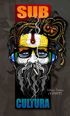 "SUB-CULTURA ""locura divina"" - (Urban Sadhu) on Behance Indian Illustration, Graphic Design Illustration, Character Illustration, Shiva Art, Mahakal Shiva, Krishna, Dancing Drawings, Weed Art, Indian Art Paintings"
