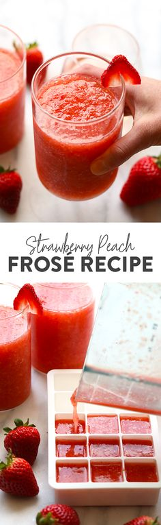 Strawberry Peach Frose Recipe {video} - Fit Foodie Finds
