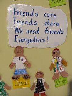 social emotional, friendship Poem could be reworked and enhanced. Kindergarten Bulletin Boards, Preschool Classroom, Preschool Activities, Friends Bulletin Board, Toddler Bulletin Boards, Family Bulletin Boards, Motor Activities, Physical Activities, Classroom Decor