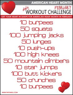 Get your blood pumping with these daily exercises to help lower your blood pressure and prevent heart disease and stroke. Heart Health Month, Heart Month, Daily Workout Challenge, Health Challenge, February Challenge, Healthy Heart Tips, Get Healthy, Healthy Foods, Fitness Herausforderungen