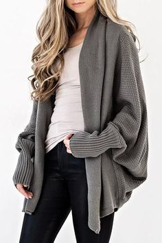 A stunning and ultra cozy Cardigan in a beautiful Dark Sage hue! Our Colbie Dolman Cardigan goes with everything fall in this open neckline wear that features a honeycomb weave throughout. Sport this over your graphic tees or Beso Tops! Cardigan Casual, Cardigan Outfits, Casual Sweaters, Cardigan Sweaters For Women, Sweater Coats, Cardigans For Women, Knit Cardigan, Gray Cardigan, Oversized Cardigan