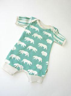 e9a70283943 Bears romper in pool color-Boy romper-ORGANIC romper-Summer baby romper-Baby  gender neutral bodysuit-Toddler summer clothes