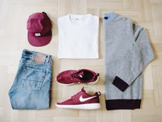 Outfitgrid - Norse Projects cap / Levis tee / Denim Demon jeans / Nike Roshe Run shoes / Fred Perry sweater