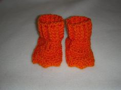 Duck Feet Booties Crochet  Orange by micmo on Etsy