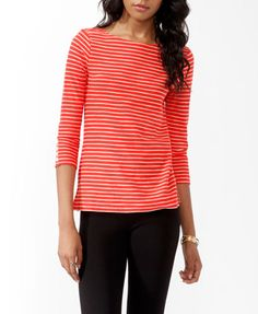 Essential Striped 3/4 Sleeve Top | FOREVER 21 - 2015037038