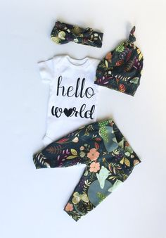 Newborn Baby Coming Home Outfit | Floral Theme Hello World Baby Girl Shower Gift | Coming Home From The Hospital Outfit Baby