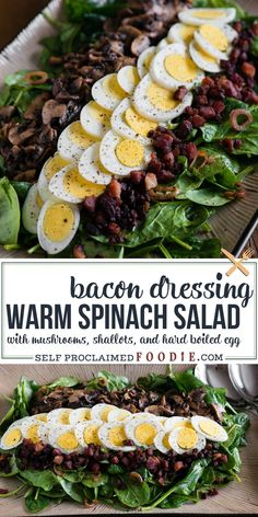 Warm Spinach Salad with sliced hard boiled eggs, sauteed mushrooms, and the best homemade bacon dressing is the most satisfying lunch or dinner recipe! Warm Spinach Salads, Bacon Spinach Salad, Spinach Salad Recipes, Chicken Salad Recipes, Chicken Spinach Salads, Dressing For Spinach Salad, Warm Bacon Dressing, Warm Salad Recipes, Shrimp Recipes