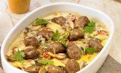 Kartoffel-Champignon-Gratin mit Hackbällchen | Rama