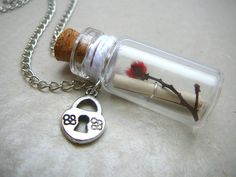 Handmade Bottle Necklace, Personalised Necklace, Secret Message in Glass Bottle Necklace, Silver Heart Locket Charm and Native Flora. $28.00, via Etsy.