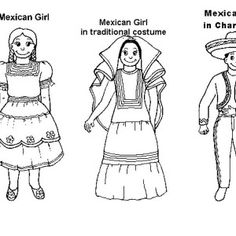 Little Mexican Girl Wearing Mexican Dress Coloring Pages