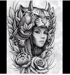 67 ideas for tattoo sleeve animal faces Trendy Tattoos, New Tattoos, Body Art Tattoos, Tattoos For Guys, Sleeve Tattoos, Tattoos For Women, Thigh Tattoos, Native Tattoos, Wolf Tattoos