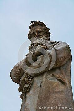 Nicolo Tommaseo statue in S. Stefano square, in Venice, Italy, Europe.