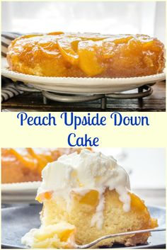 Peach Upside Down Cake is an easy summertime Homemade dessert recipe.  Made with fresh or canned peaches, a little ice cream and it's perfect. via @https://it.pinterest.com/Italianinkitchn/