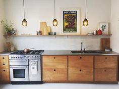 "64 Likes, 7 Comments - Fallen Giants (@fallengiants) on Instagram: ""Meersbrook Kitchen // Plywood cabinets and stainless steel worktop // Made in Sheffield, UK . . .…"""