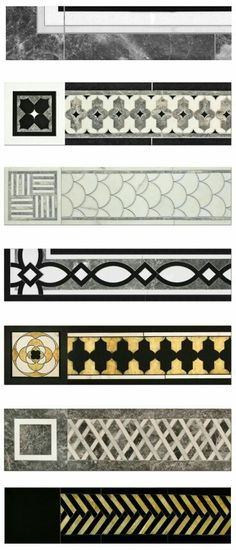 Borders and Caps can mixed and matched, used with simple field tile or with our Artistic Stone designs to create stone rugs. See Design Guide for specifications. In order of appearance: Sienna B…