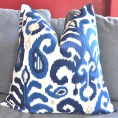 Blue Ikat Pillow Cover, Decorative Pillow Cover, Throw Pillow Cover, Toss Pillow cover,  Home Furnishing,  Home Decor by UrbanPillow on Etsy https://www.etsy.com/listing/100246714/blue-ikat-pillow-cover-decorative-pillow