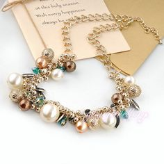 Declaración joyas perlas crystal último collar de perlas de diseño