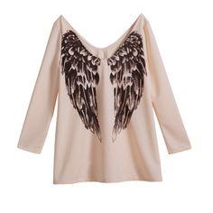 24,90EUR Shirt Longsleeve beige mit Flügeln
