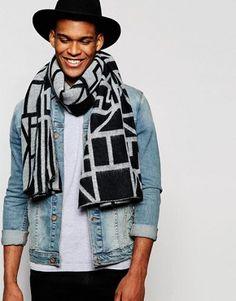 ASOS Blanket Scarf In Black And White Design
