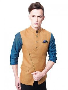 Shop Mens Nehru Jackets 2020 @ best prices from Fashion. Latest Designer Mens Waistcoat collections 2020 for Engagement, Reception, Wedding & Party wear. Nehru Jacket For Men, Men's Waistcoat, Nehru Jackets, Indian Wedding Suits Men, Indian Groom Wear, Wedding Dress Men, Indian Men Fashion, Mens Fashion Wear, Vest Coat