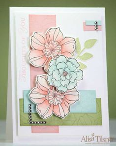 Ink: Blushing Bride, Soft Sky, Pear Pizzazz, Black Stazon Card: Watercolour, Blushing Bride, Soft Sky, Pear Pizzazz