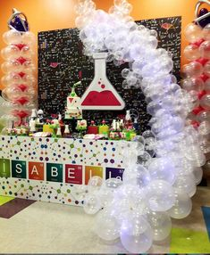 Isabella's Birthday 🔬 Science theme with dessert table design +… party Mad Science Party, Mad Scientist Party, Science Cake, 9th Birthday Parties, 8th Birthday, Fun Birthday Party Ideas, Spy Party, Science Lab Decorations, Decoration Originale