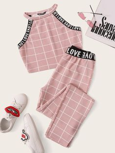 Pink Letter Tape Grid Textured Halter Top and Leggings Set - Cute Outfits Cute Lazy Outfits, Crop Top Outfits, Sporty Outfits, Stylish Outfits, Sporty Girls, Surf Girls, Summer Outfits, Pajama Outfits, Swag Outfits