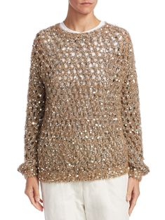 Brunello Cucinelli Open Weave Sequin Sweater - Nutmeg X-Small Knit Fashion, Sweater Fashion, Women's Fashion, Pullover Mode, Sequin Sweater, Open Weave, Spring Looks, Easy Crochet Patterns, Brunello Cucinelli