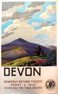 Great Western Railway Vintage Travel poster by Leonard Cusden. Posters Uk, Train Posters, Retro Poster, Railway Posters, Vintage Travel Posters, Poster Prints, Art Prints, Westerns, National Railway Museum