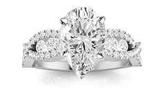 1.13 Carat Designer Twisting Eternity Channel Set Four Prong Pear Shape Diamond Engagement Ring (H Color SI2 Clarity)...