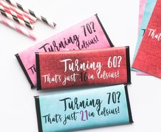 Chic 70th Birthday Birthday Party Favors Candy Bar Wrappers Pink and Gold Set of 24