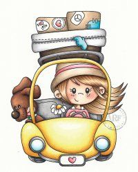 """A Random Fan """"Travel Bug"""" Unmounted Rubber Stamp Art Drawings Sketches, Cartoon Drawings, Easy Drawings, Illustration Mignonne, Art Et Illustration, Girl Cartoon, Cartoon Art, Art Mignon, Cute Cartoon Pictures"""