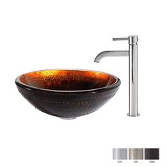 Kraus Prometheus Glass Vessel Sink in Brown with Ramus Faucet in Oil Rubbed Bronze