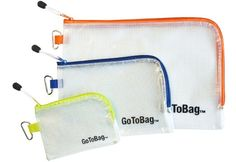 Amazon.com: GoToBag Mesh Packing Storage Bags - PVC Plastic Organizer with Zipper Closure and Carabiner - 3-Pack Pouch for Luggage, Travel, ...