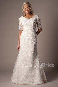 Modest Wedding Gowns, Modest Dresses, Designer Wedding Dresses, Bridal Gowns, Bridesmaid Dresses, Dresses With Sleeves, Lace Wedding, Elegant Wedding, Over 50 Wedding Dress
