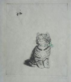 Meta Pluckebaum (1876-1945).  Bee hovering above Kitten, Brrrr! Etching, Signed #Modernist