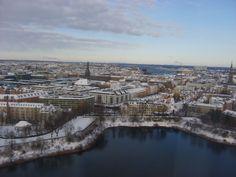 A view over Copenhagen, seen from the 23rd floor at the Radisson Blu Scandinavia Hotel.