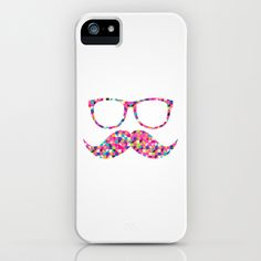 Funny Girly Pink Abstract Mustache Hipster Glasses iPhone Case by Railton Road - $35.00