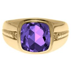 Cushion-Cut Amethyst Gemstone and Diamond Men's Ring In Yellow Gold Available Exclusively at Gemologica.com