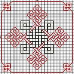 Celtic cross style Red-and-Blackwork pattern Blackwork Cross Stitch, Celtic Cross Stitch, Biscornu Cross Stitch, Cross Stitching, Kasuti Embroidery, Cross Stitch Embroidery, Embroidery Patterns, Cross Stitch Designs, Cross Stitch Patterns
