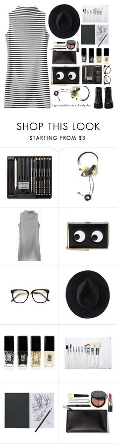 """""""Black and Gold with Stripes All Over!"""" by its-just-me-boggy ❤ liked on Polyvore featuring Frends, Anya Hindmarch, Ryan Roche, JINsoon, Bobbi Brown Cosmetics and The WhitePepper"""