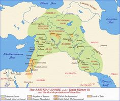 Map of the Assyrian Empire under Tiglat-Pileser III (click for more maps of the ancient Middle East).