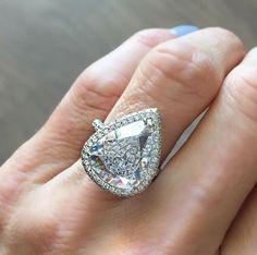 Pear Cut available through personal shopper @milestones_by_abc, pear cut diamond, engaged engagement ring, wedding, proposal, pave diamonds, diamond, diamonds, dream ring, big diamond, fine jewelry, jewelry, jewels, wedding ring