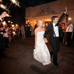 """Brides.com: . The couple reached their getaway car through a tunnel of sparklers waved by guests. """"I really feel like we lived each second of that day,"""" Kinsey says. """"We didn't take anything for granted. We remember everything. We cherish everything. It's a day we will never forget and we wish we could keep reliving over and over."""""""